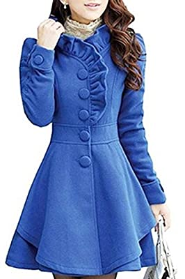 SODIAL(R) Womens Fit Trench Coat Wool Blend Jacket Parka Outwear Blue-L