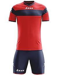 Zeus Kit Apollo Completo Completino Calcio Calcetto Maglietta E  Pantaloncino Sport (Rosso-Blu 387f649fce3d