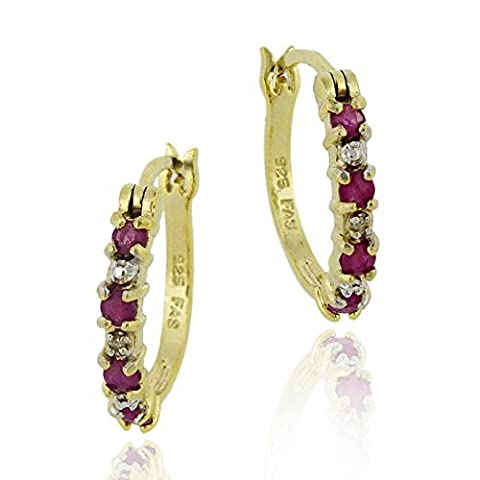 18K Gold over Sterling Silver Genuine Ruby and Diamond Accent