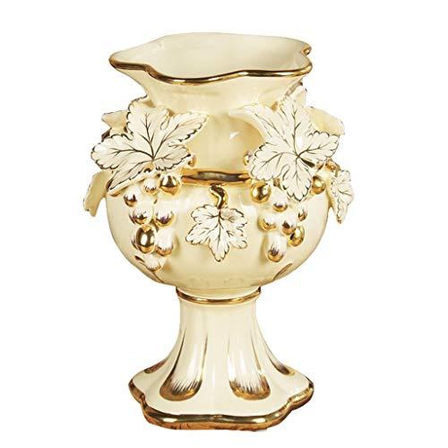 Décoration de Vase Vase Artisanat Salon de Style européen Meuble de télévision Grand Vase créatif Artisanat Ornements décoratifs (Color : Blanc, Size : 22 * 22 * 30CM)