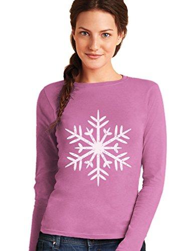 Green Turtle T-Shirts Flocon de Neige -Fashion Style T-Shirt Manches Longues Femme Rose
