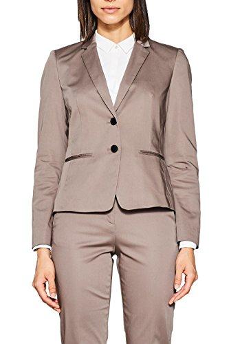 ESPRIT Collection Damen Anzugjacke 998EO1G801, Braun (Taupe 240), 44 (Taupe Jacke Blazer)