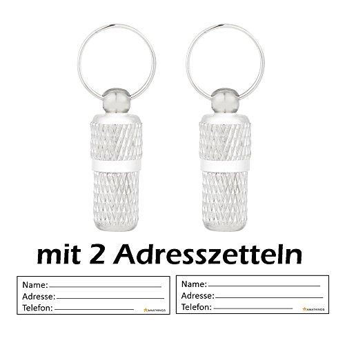 2er Set Adressanhänger geriffelt in silber in XS / mini mit 2 cm Länge für Hunde und Katzen mit Adressetiketten / wasserdicht / Pillendose / Adresshülse von amathings