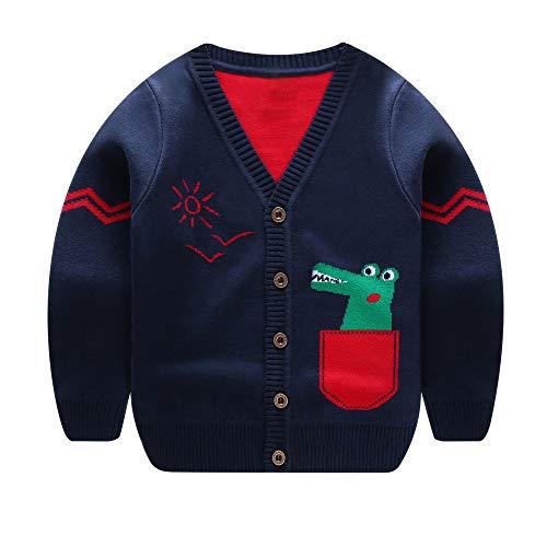 Quaan 18M-5T Jungen Mädchen Baby Kinder Dinosaurier Pullover Weich Warm Kinder Strickjacke Mäntel Outfits Warm Kleider niedlich Baumwolle warm weich gemütlich Outwear Sweatshirt 7