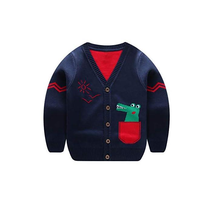 Quaan 18M-5T Jungen Mädchen Baby Kinder Dinosaurier Pullover Weich Warm Kinder Strickjacke Mäntel Outfits Warm Kleider…
