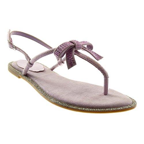 Angkorly Chaussures Mode Sandales Tongs Avec Bride À La Cheville Strap Femme Noeud Strass Boucle Bloc Talon 1 Cm Lilas