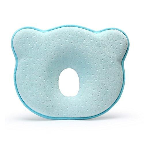 Ang Qi oreiller bébé - coussin bébé anti tête plate - mousse à mémoire - prévient le syndrome à tête plate et la plagiocéphalie -Bleu