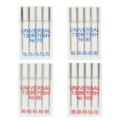 BIG-SAM - - aghi per macchine da cucire universale 130R/705 ore - Solido gambo piatta - singolarmente o come impostato disponibile, 4er Set 70,80,90 & 100