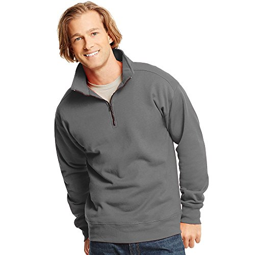 Hanes Mens Nano Premium Lightweight Quarter Zip Jacket Vintage Gray