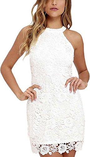 Meyison Damen Sommerkleid Vintage ?rmellos Spitzenkleid Ballkleid cocktailkleid Retro Rockabilly Festlich Partykleid 8 Farbe Weiß-XL