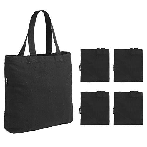 4 Stück Canvas Bag Lebensmittelbeutel Tragetasche Schultertasche wiederverwendbar Canvas Tote für Basteln Schwarz Einkaufstasche (Tote Canvas Schwarz)