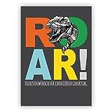 Mega coole Geburtstagskarte für Dinosaurier Fans mit T-Rex auf grau: Roar! Die besten Wünsche für einen coolen Geburtstag • auch zum direkt Versenden mit ihrem persönlichen Text als Einleger.