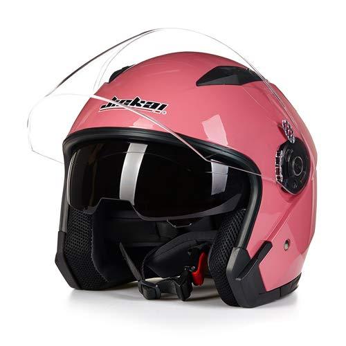 LanLan Protezione per motociclista Casco moto vintage motociclistico a faccia aperta ad alta resistenza con doppia lente - Rosa M
