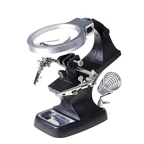 HerewegooMagnifying Glass Miroir loupe 3.5-10 Fois, 3X / 4.5X lumière LED loupe et Lampe de Bureau Aide réparation Clip Pince Crocodile Table auxiliaire Clip