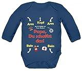 ShirtStreet Geschenk zum Vatertag Feuerwehrmann Strampler Bio Baby Body Bodysuit langarm Jungen Mädchen Feuerwehr - Papa Du schaffst das, Größe: 12-18 Monate,Nautical Navy