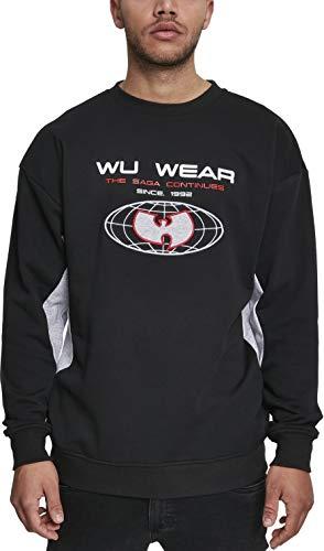 Wu Wear Herren Globe Crewneck Sweatshirt, Black/h.Grey, M City Crewneck Sweatshirts