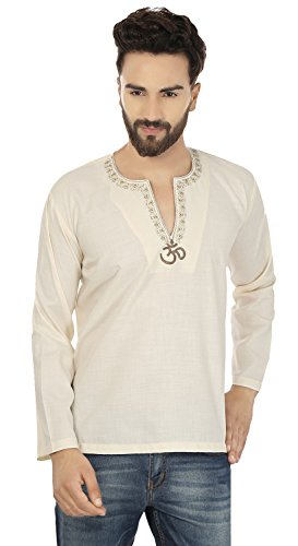 Cotton Dress Mens Breve Kurta Camicia India vestiti Modo (Cream, S)