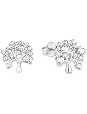 amor Damen-Ohrstecker Lebensbaum 925 Silber rhodiniert Zirkonia weiß 0.9 cm - 2012779