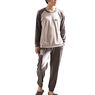 AOOPOO Round Neck Men's Long-Sleeved Cotton Pajamas Casual Home Clothes Pajama Set Loungewear Nightwear (XXXL)