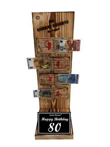 * Happy Birthday 80 Geburtstag - Die Eiserne Reserve ® Mausefalle Geldgeschenk - Die ausgefallene lustige witzige Geschenkidee - Geld verschenken