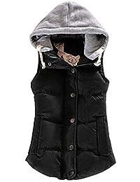 uirend Vêtements Femme Blousons Manteaux sans Manche - Vestes Gilet en  Duvet Ultra-Léger Coton 325e8765f20