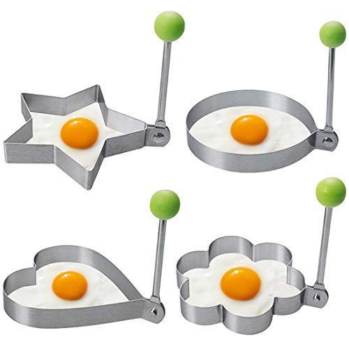 4x Stainless Steel Cooking Fried Egg Pancake Ring Mould Mold Shaper Kitchen Tool by YooBox