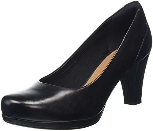 Clarks Chorus Chic, Scarpe con Tacco Donna, Nero (Black Leather), 36 EU