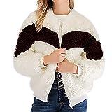 IMJONO Frauen Winter Casual Long Sleeve Zipper Patchwork Warm Coat Overcoat Outercoat (X-Large,Weiß)