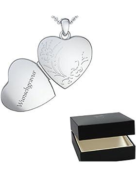 Herz Kette Gravur Silber 925 Medaillon + inkl. Luxusetui + Kettenanhänger mit Gravur persönlich individuell gestalten...