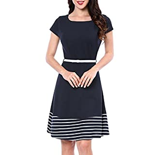 Allegra K Women's Cap Sleeve Striped Belted Flare Knee Length Dress Blue L (UK 16)