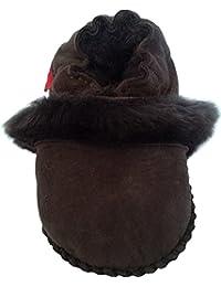 Plateau Tibet - Bottines chaussons pour bébé avec doublure en VERITABLE laine d'agneau - Fur - marron foncé