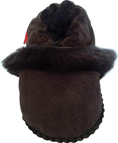 Plateau Tibet - Bottines chaussons pour bébé avec doublure en VERITABLE laine d'agneau - Fur - marron foncé marron foncé (Dark Brown)