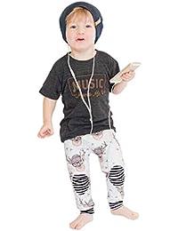 ☀☀Conjuntos De Ropa para Bebés Niño,2 Unids Niños Niños Niños Niñas Carta De Impresión Blusa Top Clothes + Pants Outfits Set
