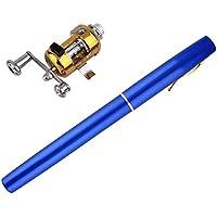 Diseño único caña de Pescar portátil Mini caña de Pescar aleación de Aluminio Forma de Pluma caña de Pescar con Carrete Rueda 6 Colores - Azul