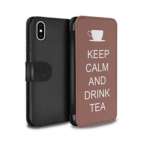 Stuff4 Coque/Etui/Housse Cuir PU Case/Cover pour Apple iPhone X/10 / Pack 25pcs Design / Reste Calme Collection Boire du Thé/Brun