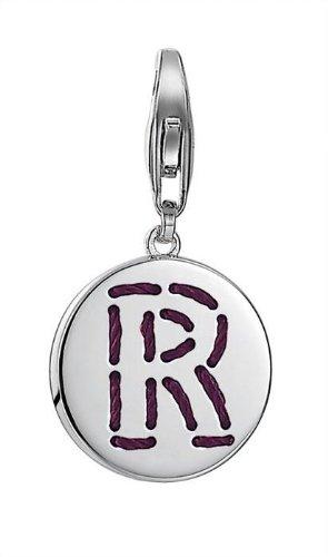 Esprit Damen-Charm 925 Sterling Silber rhodiniert Letter Fabric R ESCH91140A000