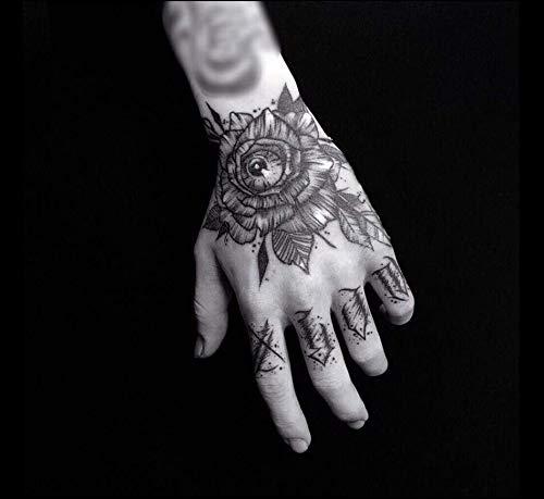 re Tätowierung Aufkleber Wasserdicht Männlich Langlebig Hand Zurück Hand Simulation Tätowierung Gezeiten Europa Und Amerika Dunkles Netzwerk Rote Blume Hand Mädchen Gesellschaft ()
