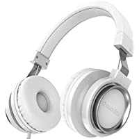 Chououkiu Over-Ear Headphones Estéreo con Cable Ligero Diadema Portátil Ajustable Auriculares con Micrófono para iPhone iPad Android Smartphones Tablet Portátil para niños o Adultos (Blanco)