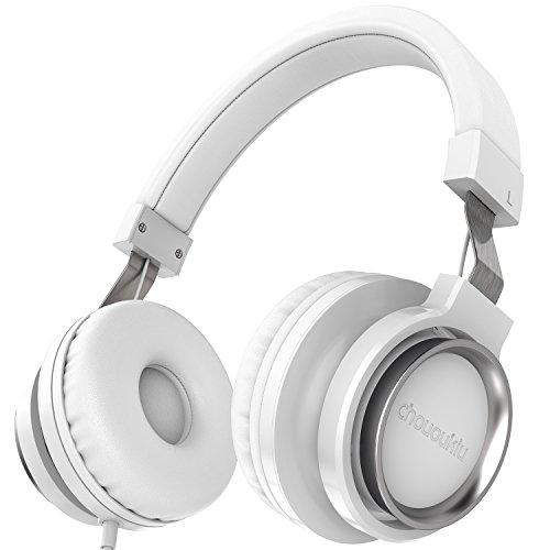 Chououkiu cuffie auricolari stereo cablato leggero regolabile cuffie portatili a fascia con microfono per iphone ipad smartphones tablet pc portatile per bambini o adulti (bianco)