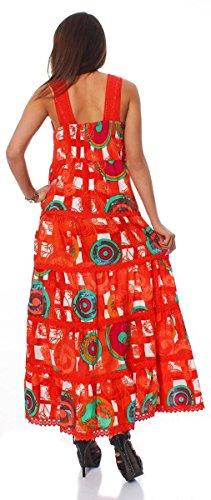 10521 Fashion4Young Damenkleid Langes Baumwollkleid mit V-Ausschnitt Sommer Kleid Spitze Orange