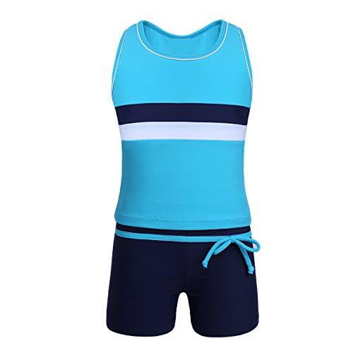 Tiaobug Mädchen Jungen Sport Tankini Set Badeanzug Racerback Tank Top Tee T-Shirt Badeshirt und Shorts Badeshorts Schwimmanzug Bade Schwimm Bekleidung Blau 140
