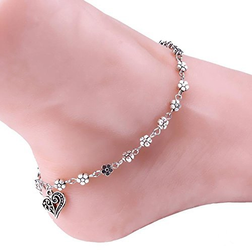 Shining Diva Fashion Oxidised Silver Floral Single Stylish Anklet For Women & Girls