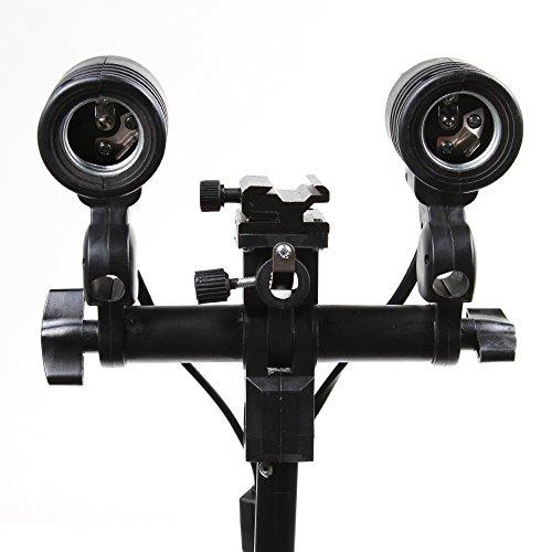 Flash-mount-adapter (Fotga Dual E27 Schwenken Birnen-Halter + Hot Schuh Flash-Mount Adapter für Regenschirm Speedlites)