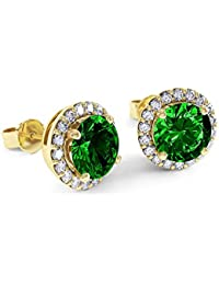 Stardust 2.3ct Emerald and Diamond Halo Silver Stud Earrings (GOLD)