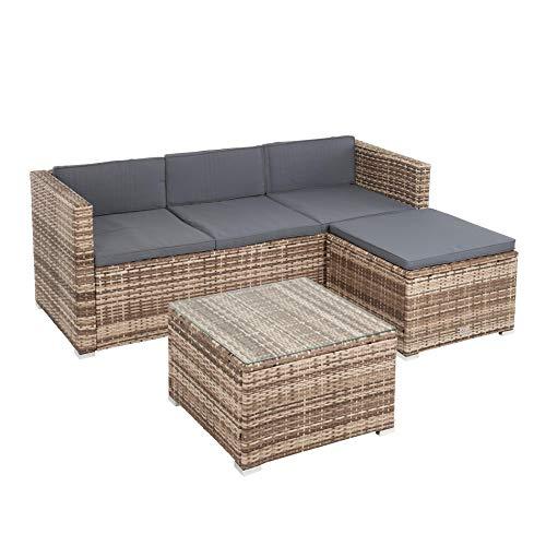 IHD Polyrattan Lounge 3-Sitzer Sofa mit Hocker und Lounge-Tisch mit Glasplatte, beige-braun-meliert