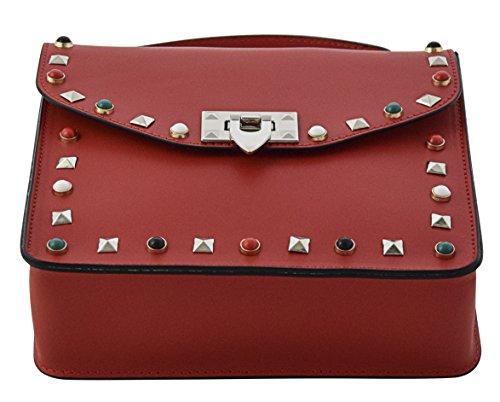 ADELE Henkeltaschen Schultertaschen Handtaschen Tasche Damen Echtes Leder Made in Italy Rot