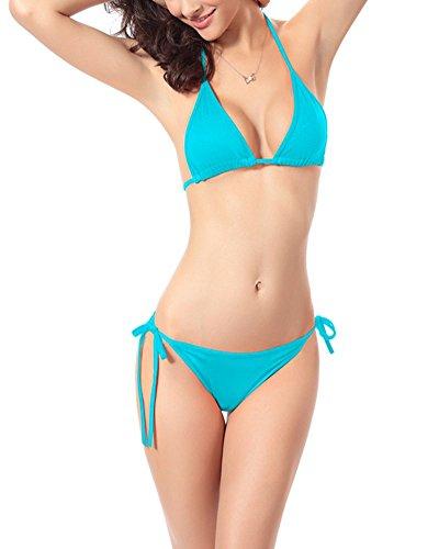 Moollyfox Bikini Costumi Da Bagno A Fascia Senza Spalline Charme Colore Solido Push Up Bikinis Triangle Bottom Donne In Costume Piscina Donna Beachwear Due Pezzi Lago Blu