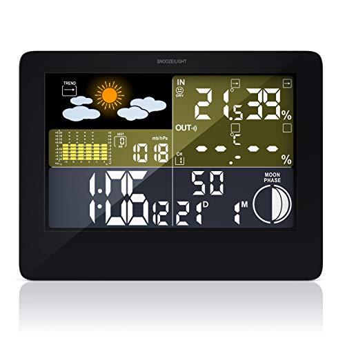 CSL-Computer Wetterstation mit LED Farbdisplay | Funkuhr | Wettervorhersage | IP44