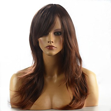 Mann-braune Perücke (MZP Frauen ombre fashion natürlichen gewellten braunen janpanese hitzebeständige synthetische lange Haare Perücke 8858-4t30 24