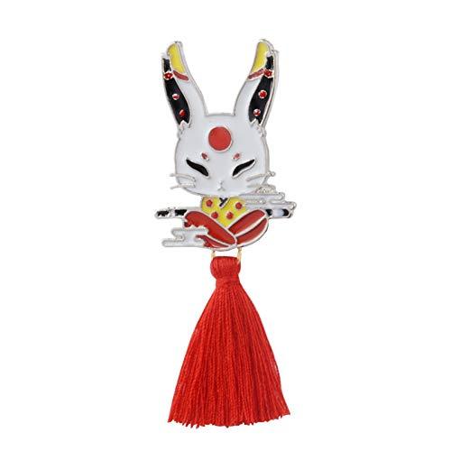 HFKDJ Brosche Deer Rabbit Snake Fox Ninja Maske Mit Red Tassel Brooches Badges Anstecknadel, Hase (Moderne Ninja Kostüm)